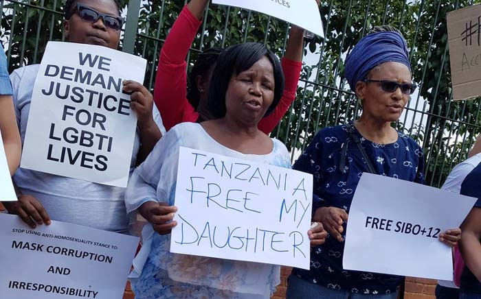 FILE: A group protests outside the Tanzanian embassy in Pretoria on 24 October 2017 for the release of activists arrested in Tanzania for 'promoting homosexuality'. Picture: Twitter/@Tumi_06