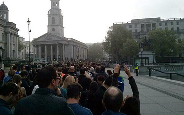 South African national queue in Trafalgar Square in London as they get ready to vote on 30 April 2014. Picture: Gerard Pilz/iWN
