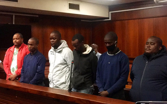 FILE: The six suspects accused of the kidnapping and murder of Andiel Mbuthu appear in the Verulam magistrates court on 11 May 2020. Picture: Nkosikhona Duma/EWN