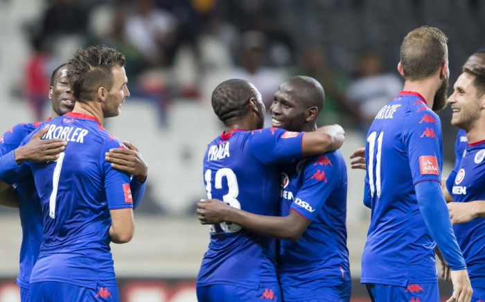 SuperSport United players celebrate after scoring a goal. Picture: Twitter/@SuperSportFC