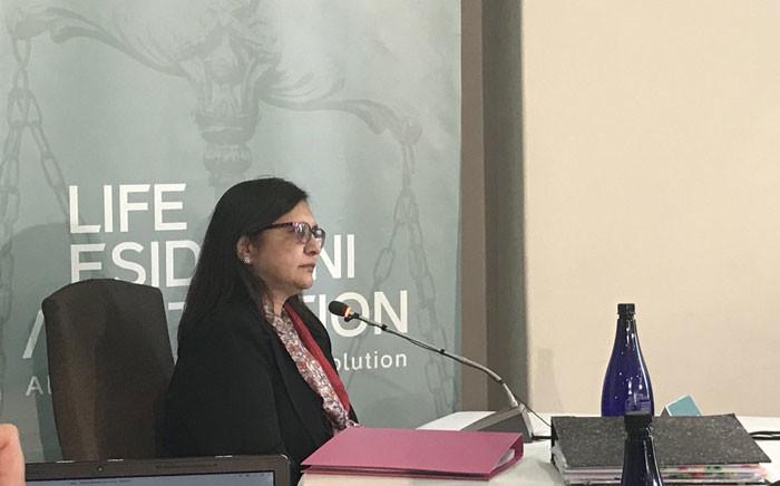Professor Ames Dhai giving testimony at the Esidimeni arbitration hearing on 18 January 2018. Picture: Masego Rahlaga/EWN.