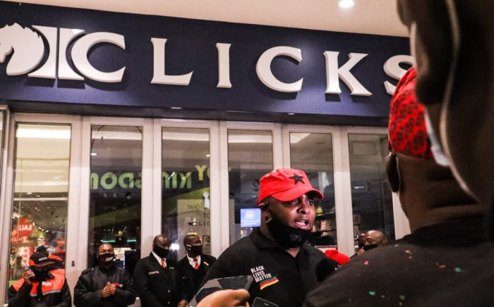EFF deputy president Floyd Shivambu leads a protest against Clicks at Sandton City in Johannesburg on 7 September 2020. Picture: Kayleen Morgan/EWN