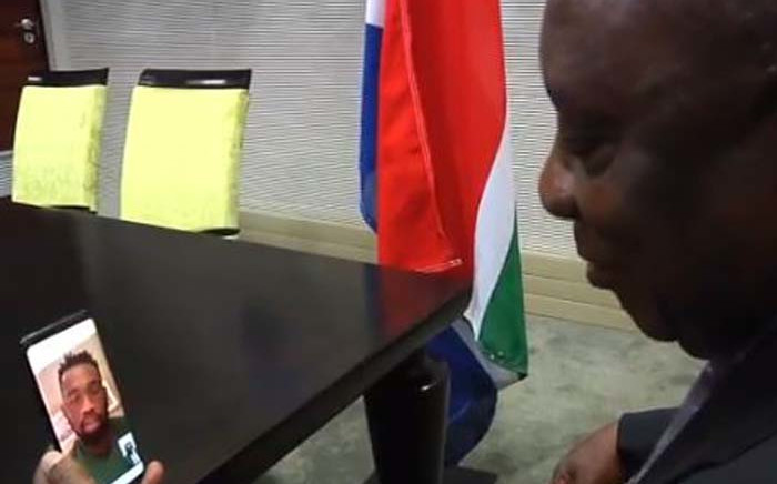 President Cyril Ramaphosa makes a call to Springbok Captain Siya Kolisi on Saturday 26 October 2019 ahead of the semi-final clash between the national squad and Wales at the Rugby World Cup in Japan. Picture: Twitter video screengrab