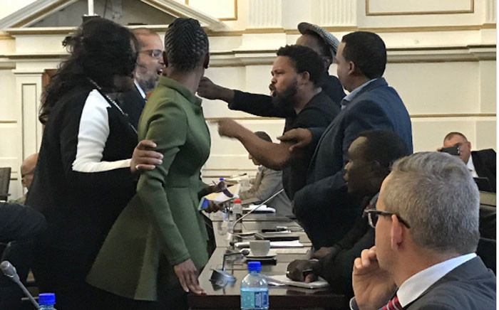 An altercation broke out between Black First Land First head Andile Mngxitama and Standing Committee on Finance chairperson Yunus Carrim during public hearings on economic transformation on 3 May 2017. Picture: Twitter/@DavidMaynier