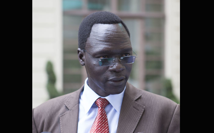 James Gatdet Dak, spokesperson for opposition leader Riek Machar gives a statement to the press in Addis Ababa on 9 May 2014. Picture: AFP