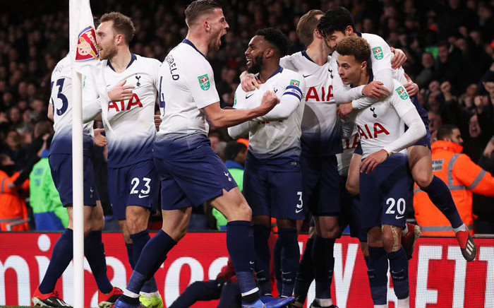 Tottenham players celebrate a goal during their Caraboa Cup match against Arsenal on 19 December 2018. Picture: @SpursOfficial/Twitter