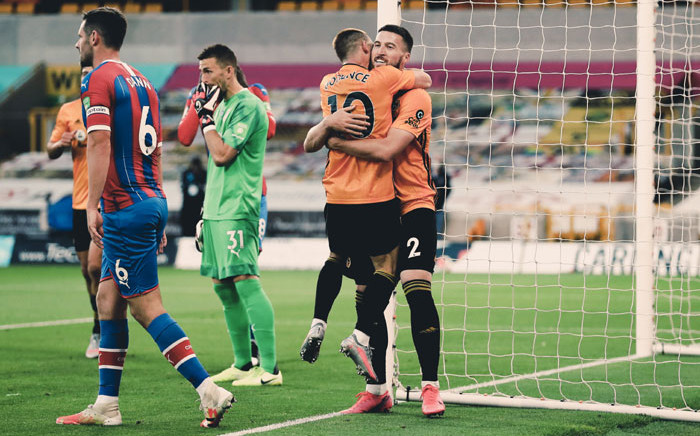 Wolves players celebrate a goal against Crystal Palace in their English Premier League match on 20 July 2020. Picture: @Wolves/Twitter