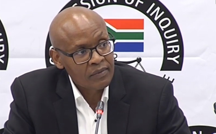 A video screengrab of Mzwanele Manyi appearing at the Zondo Commission of Inquiry into state capture on 14 November 2018.