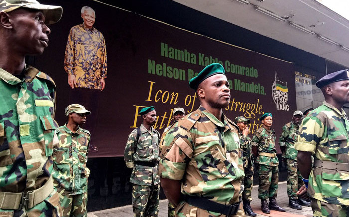 FILE: MKMVA members guard the ANC's Luthuli House headquarters in Johannesburg. Picture: Clement Manyathela/EWN.