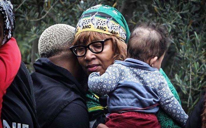 Zenani Mandela at the wreath-laying ceremony at Fourways Memorial Park for her late mother Winnie Madikizela-Mandela, who died in 2018. Picture: Abigail Javier/EWN.