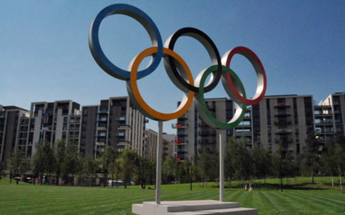 Olympic rings in the Athletes Village in London. Picture: Wessel Oosthuizen/SA Sports Picture Agency.