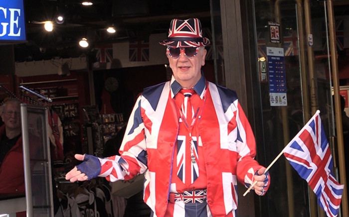 Mr Britain poses for a picture outside the Cool Britannia store in Leicester Square, central London. Picture: Vumani Mkhize/EWN.