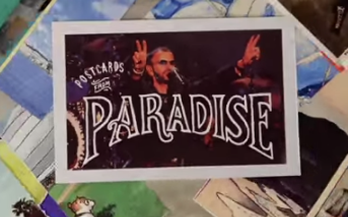A screengrab from Ringo Starr's video Postcards From Paradise.