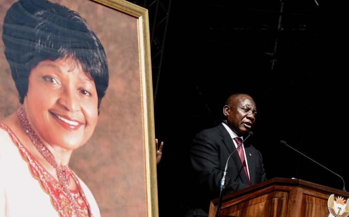 President Cyril Ramaphosa speaking at Orlando Stadium during the funeral service of late Winnie Madikizela-Mandela on 14 April. Picture: GCIS.