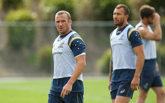 Matt Giteau and Quade Cooper look on during an Australia Wallabies training session at Ballymore Stadium on July 16, 2015 in Brisbane, Australia. Picture: Rugbuworld.com