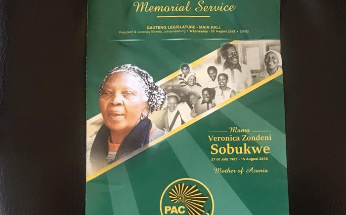 The programme of the late Zondeni Sobukwe at her memorial service. Picture: Bonga Dlulane/EWN.