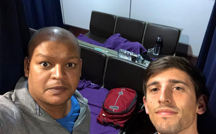 Allister Nunn (left) and Allan Huysamen (right) are two South Africans who are stranded at Malaysia's Kuala Lumpur International Airport after the country went into lockdown to stop COVID-19 from spreading. Picture: Supplied.