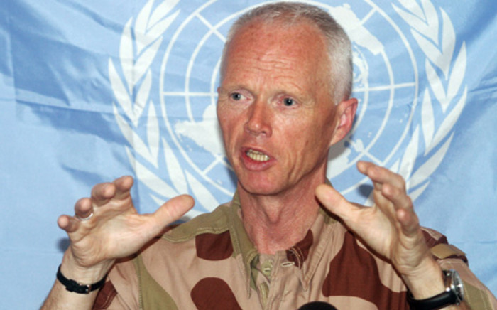 Head of the UN observer mission in SyriaGeneral Robert Mood addresses media on 16 June 2012. Picture: Bassem Tellawi/ Pool/ AFP