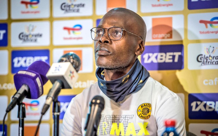 Kaizer Chiefs Coach Arthur Zwane at a 18 June 2021 press conference ahead of the CAF Champions League match against Wydad Casablance on Saturday. Picture: Twitter/@KaizerChiefs