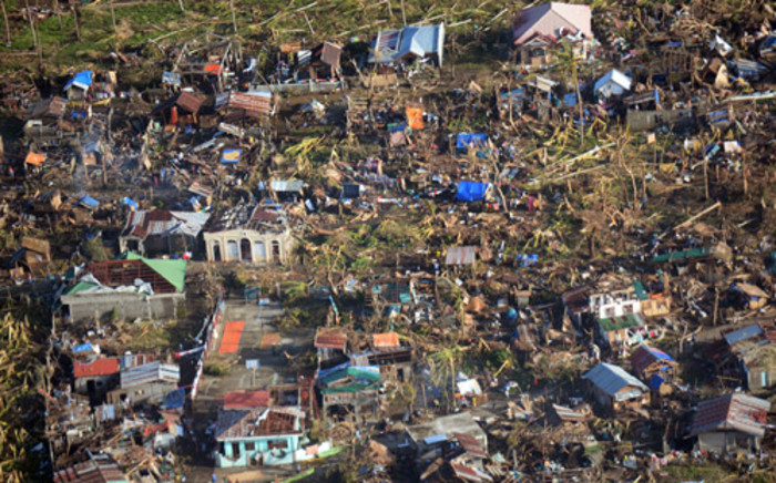 This aerial photo shows typhoon devastation in Eastern Samar province, central Philippines on 11 November, 2013, four days after Typhoon Haiyan hit the country. Picure: AFP
