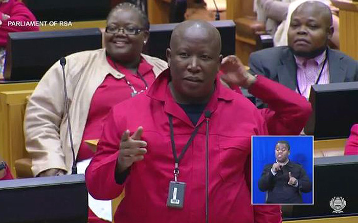 A screengrab of EFF leader Julius Malema in Parliament on 9 September when he called deputy president Cyril Ramaphosa a murderer.