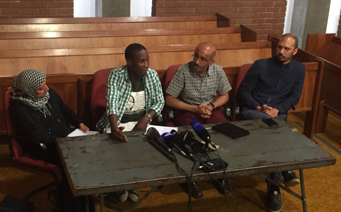 University of Johannesburg SRC president and lecturers briefing media on violence and intimidation by 'bouncers' on campus. Picture: Kgothatso Mogale/EWN.