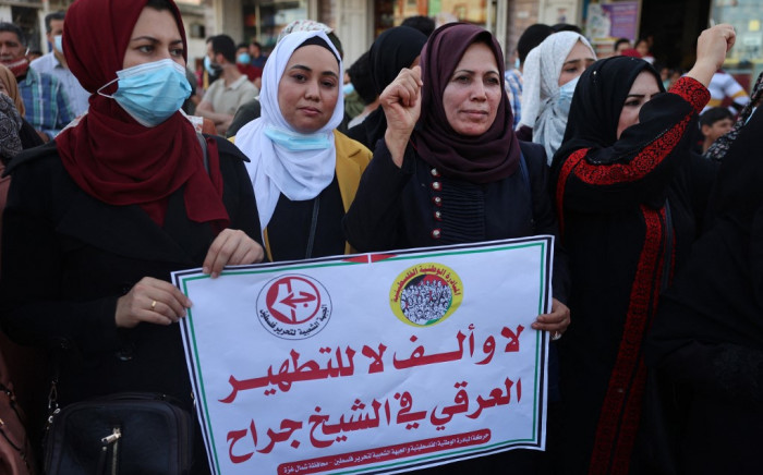 Supporters of the Popular Front for the Liberation of Palestine (PFLP) protest in Jabaliya in the northern Gaza Strip on 5 May 2021 against an Israeli court's decision to evict several Palestinian families in the Sheikh Jarrah neighbourhood of occupied East Jerusalem. Picture: AFP