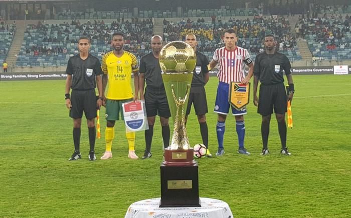 Bafana Bafana take on Paraguay in their Nelson Mandela Centenary Celebration Challenge match at the Moses Mabhida Stadium in Durban on 21 November 2018. Picture: @BafanaBafana/Twitter