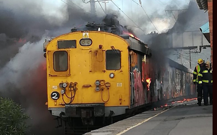 FILE: A train was set alight at Steenberg Railway Station on 18 June 2018. Picture: Supplied by CoCT fire & rescue services.