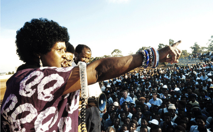 FILE: A picture taken on 13 April 1986 shows Winnie Madikizela-Mandela, then-wife of South African president Nelson Mandela and anti-apartheid campaigner, addressing a meeting in Kagiso township. Picture: AFP