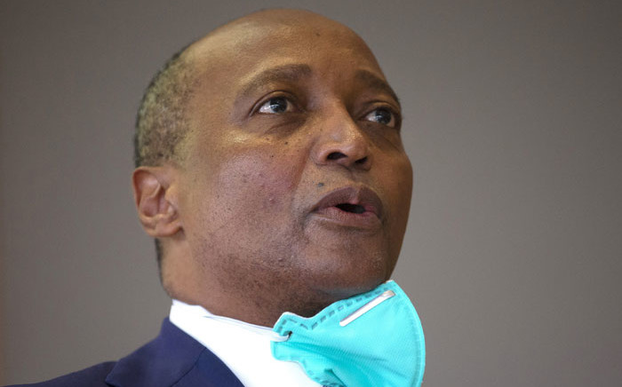 Patrice Motsepe, the South African candidate for the Confederation of African Football (CAF) presidency addresses the media during a press conference delivering his manifesto in Johannesburg on 25 February 2021. Motsepe is running against three other candidates, Jacques Anouma of Ivory Coast, Augustin Senghor of Senegal and Ahmed Yahya of Mauritania. Picture: Phill Magakoe/AFP