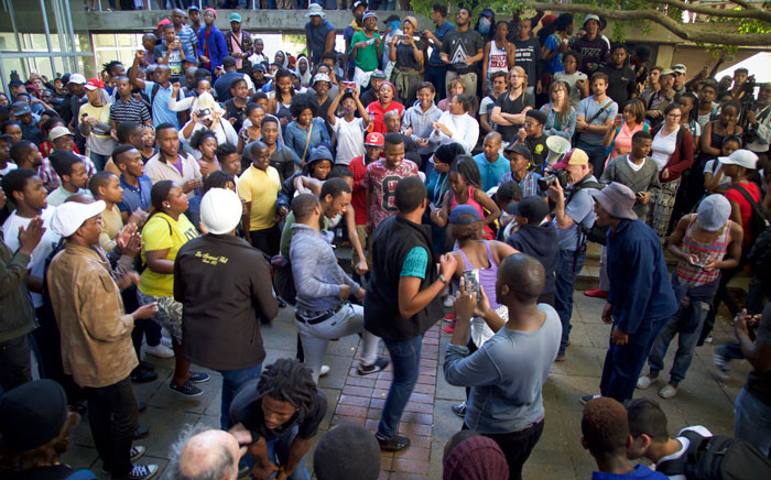 UCT protesters interrupt a student meeting on Upper Campus. Protesters are attempt to shut down UCT for it's third week. Picture: Anthony Molyneaux/EWN