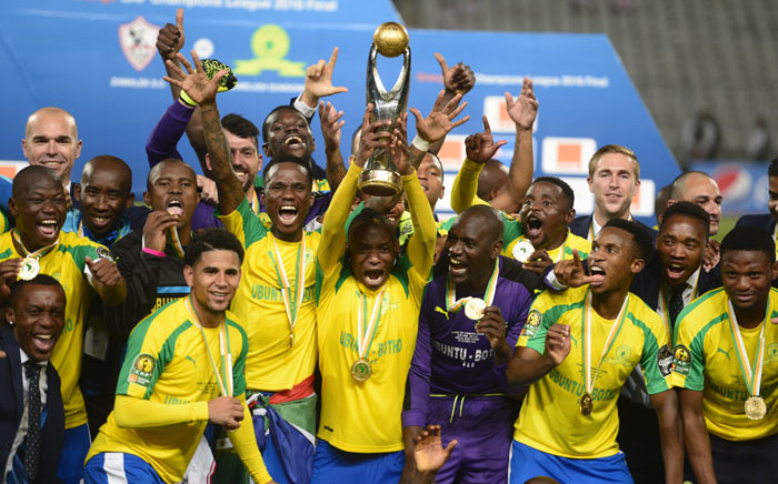 Mamelodi Sundowns players celebrate after winning the CAF Champions League title. Picture: AFP