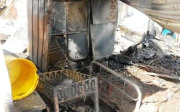 A shack destroyed by fire. Picture: EWN