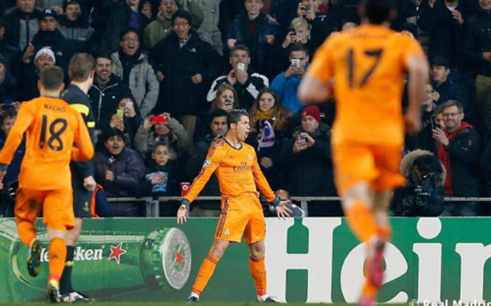 Real Madrid's Cristiano Ronaldo celebrates after scoring against FC Copenhagen in the Champions League on 10 December 2013. Picrture: Facebook.