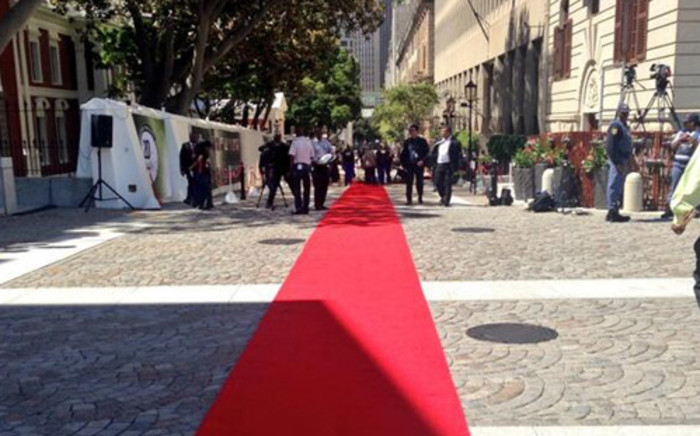 The red carpet is being prepared outside Parliement in Cape Town ahead of State of the Nation Address on 13 February 2014. Picture: Siyabonga Sesant/EWN.