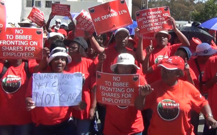 urses belonging to the National Education Health and Allied Worker's Union were striking on 17 April 2013 outside Milpark Hospital for better wages. Picture: Reinart Toerien/EWN