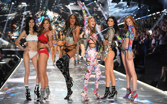 (From left) Ming Xi, Grace Elizabeth, Cindy Bruna, Gigi Hadid, Kendall Jenner and Alexina Graham walk the runway at the 2018 Victoria's Secret Fashion Show on 8 November 2018 at Pier 94 in New York City. Picture: AFP