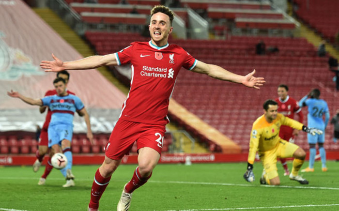 Liverpool's Diogo Jota celebrates his goal against Leicester City in the English Premier league match at Anfield, Liverpool on 22 November 2020. Picture: @LFC/Twitter