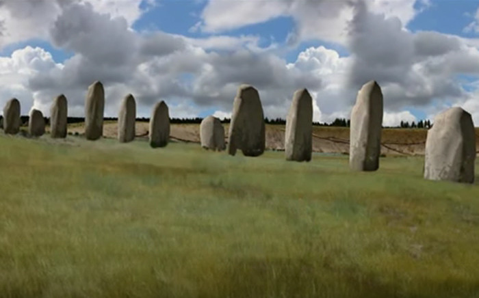 Youtube screengrab of uncovered traces of larger stone monuments less than three kilometers from Stonehenge, southwest of England.