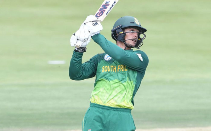 South Africa's Quinton de Kock watches his shot fly to the boundary. Picture: @OfficialCSA/Twitter
