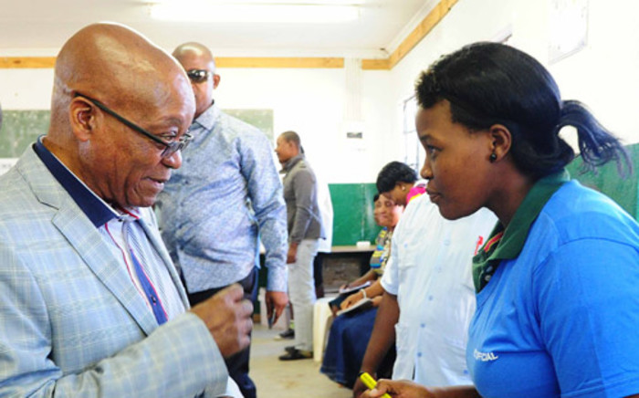 President Jacob Zuma arrived at the voting station in Nkandla where he voted on 7 May 2014. Picture: GCIS.