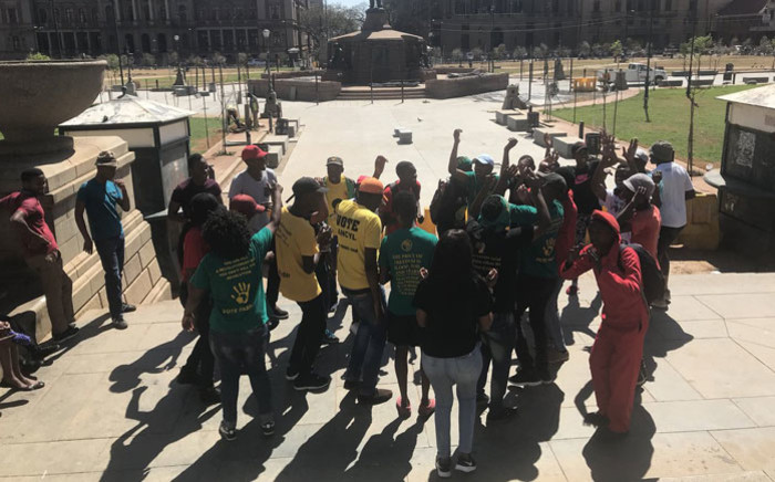 A small group of students have gather at Church Square in Pretoria ahead of a march to the Police Minister's office on 29 August 2018. Picture: Thando Kubheka/EWN