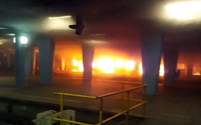 A fire gutted trains at the Cape Town station on 28 November 2019. Picture: Supplied.
