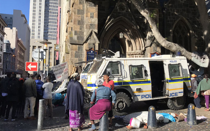 Police make their presence felt at the Central Methodist Mission Church in Cape Town on 30 December 2019. Picture: Kevin Brandt/EWN
