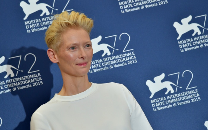 Actress Tilda Swinton poses during the photocall of the movie 'A Bigger Splash' presented in competition at the 72nd Venice International Film Festival on 6 September 2015 at Venice Lido. Picture: AFP.