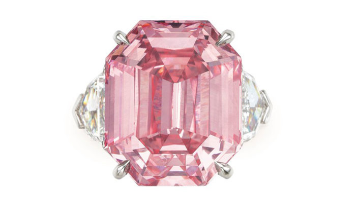 'The Pink Legacy' diamond. Picture: @ChristiesInc/Twitter