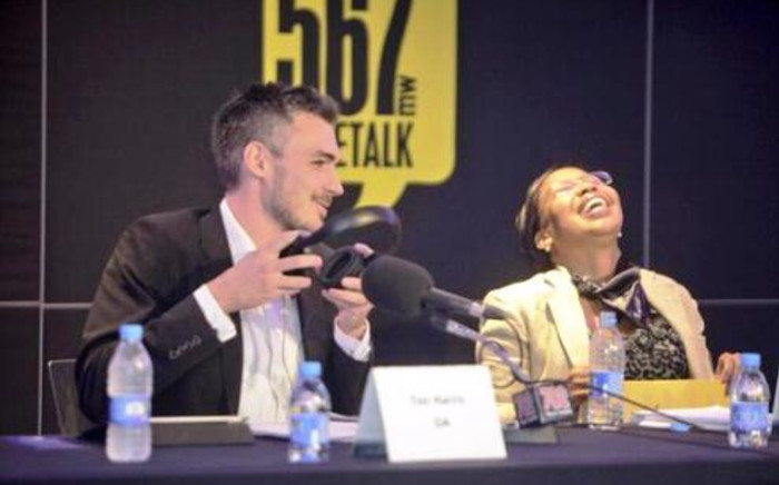 The DA's Tim Harris and ANC's Qedani Mahlangu during The Money Show debate on 3 April. Picture: Twitter.