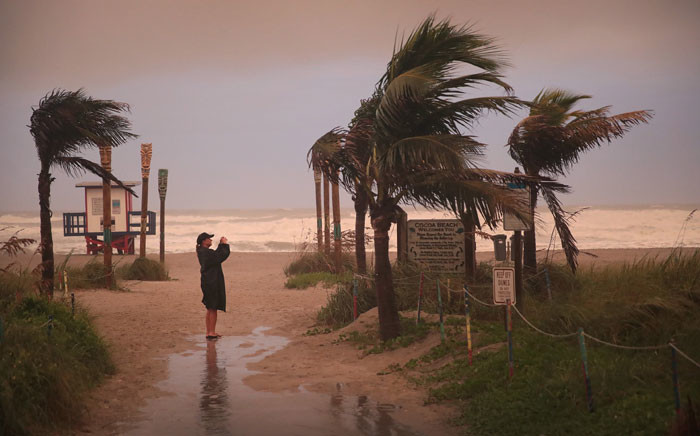 A picture as the effects of Hurricane Dorian begins to be felt on 2 September 2019 in Cocoa Beach, Florida. Dorian, once expected to make landfall near Cocoa Beach as a category 4 storm, is currently predicted to turn north and state off the Florida coast, lessening the impact on the area. Picture: AFP