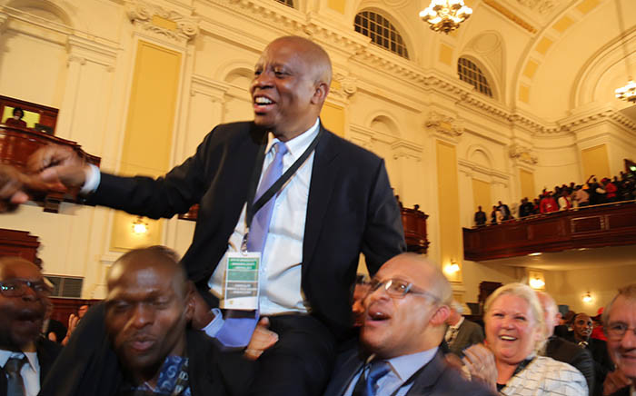 Newly elected Johannesburg Mayor Herman Mashaba celebrates his victory.  Picture: Christa Eybers/EWN